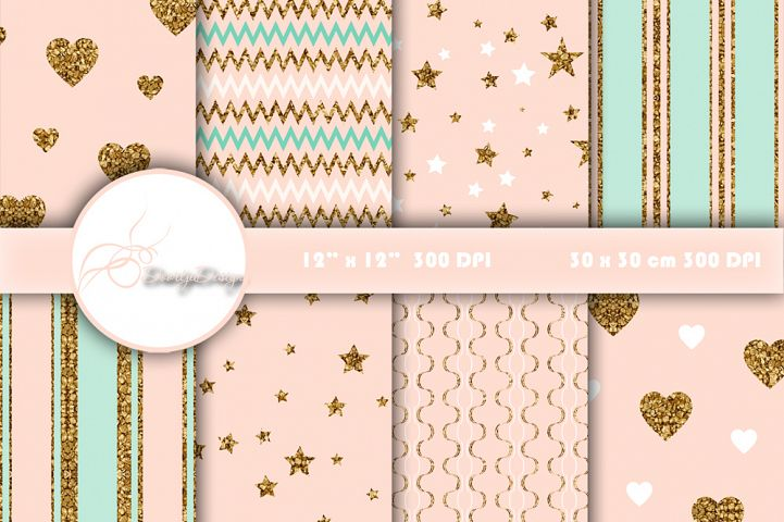 Digital Papers Gold, mint and pink