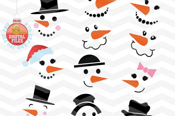 Snowman Svg - Snowman Faces SVG - Christmas SVG - Snow SVG - Xmas svg - Cutting File - Winter clipart - Svg - Dxf - Eps - Png - Jpg - Pdf