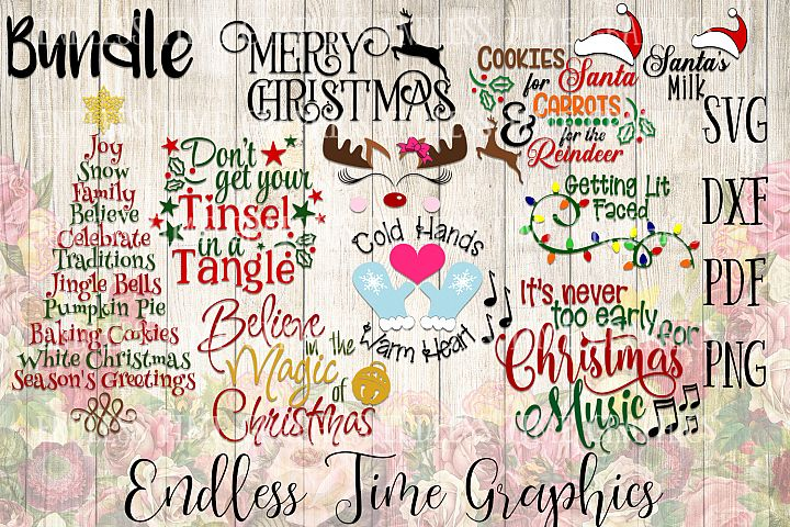 Christmas SVG Bundle. Holiday SVG Bundle. Tinsel in A Tangle. Merry Christmas. Cookies For Santa SVG. Believe Svg. Holiday Cut File Bundle