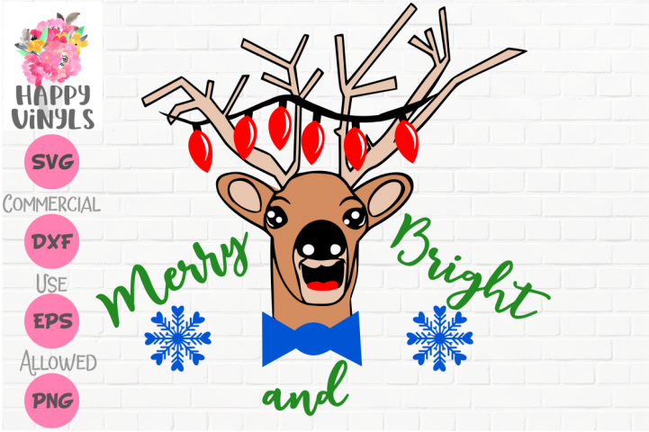 Christmas SVG Reindeer SVG Cute SVG Merry and Bright SVG