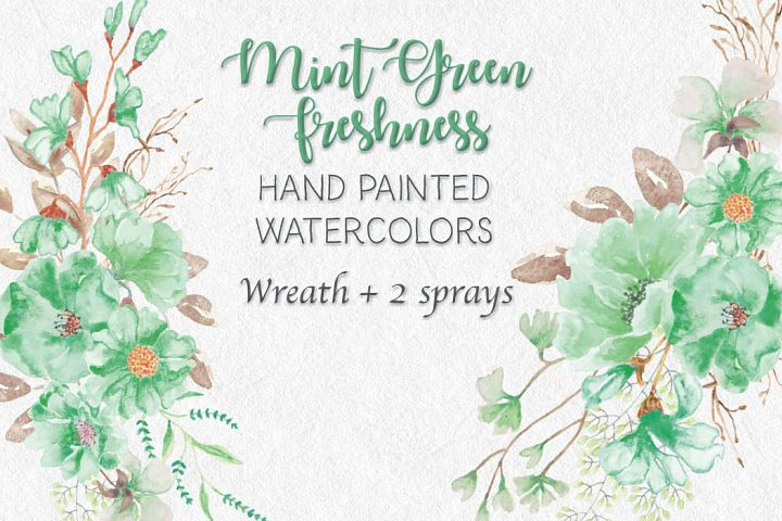 Watercolor wreath: Mint green freshness