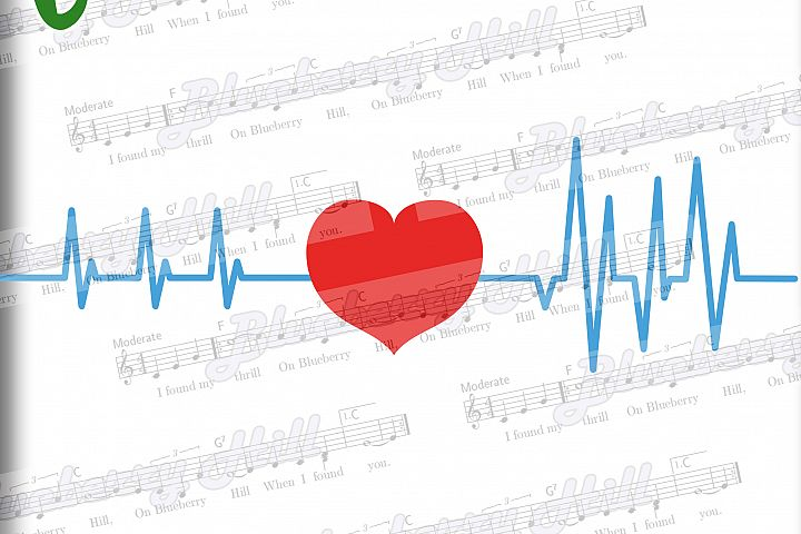 Heartbeat Svg - Valentines day  SVGt  - Love Heart Svg - Heart with ekg - Silhouette Cut Files - DIY - Svg - Dxf - Eps - Png - Jpg - Pdf
