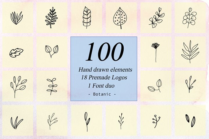 100 Hand Drawn Floral Elements
