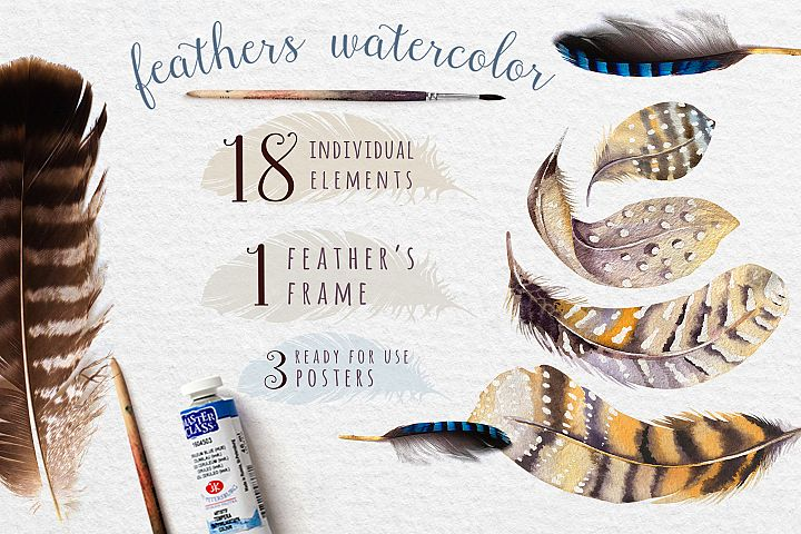 Watercolor BOHO feather DIY_5
