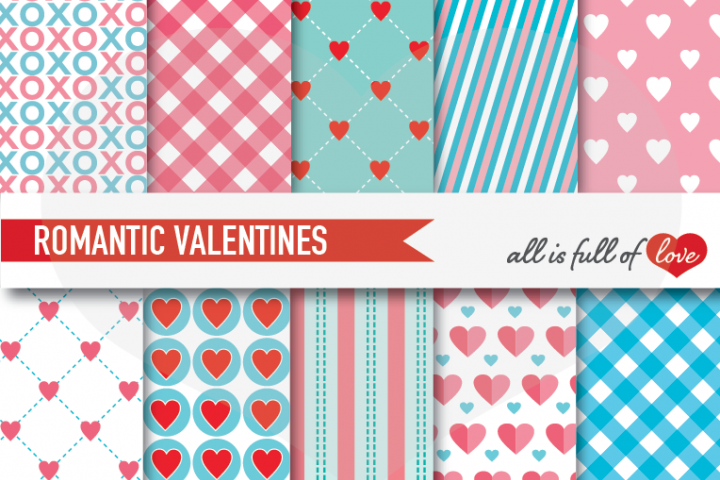 Turquoise and Pink Valentines Day Patterns Hot Love Digital Paper Pack