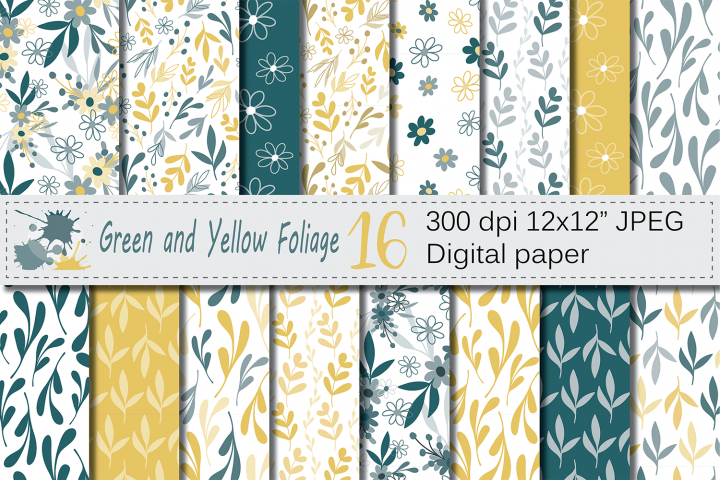 Seamless Green and Yellow Hand Drawn Flowers and Leaves Digital Paper / Foliage Seamless Pattern / Scrapbooking Papers
