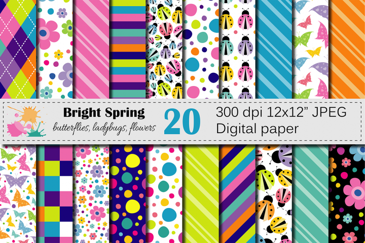 Bright Spring Digital Paper with butterflies, ladybugs and flowers / Spring bugs background / Scrapbooking paper