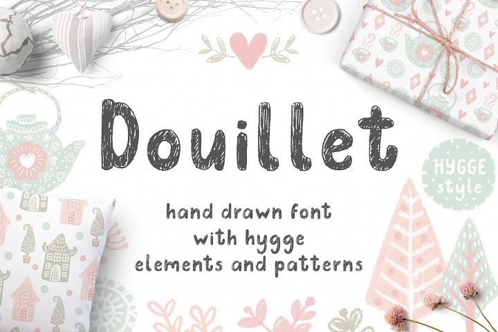 Douillet Font with Hygge Clipart!