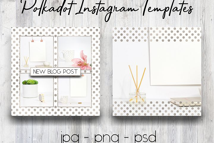 Silver Polkadot Instagram Templates | Social Media Templates