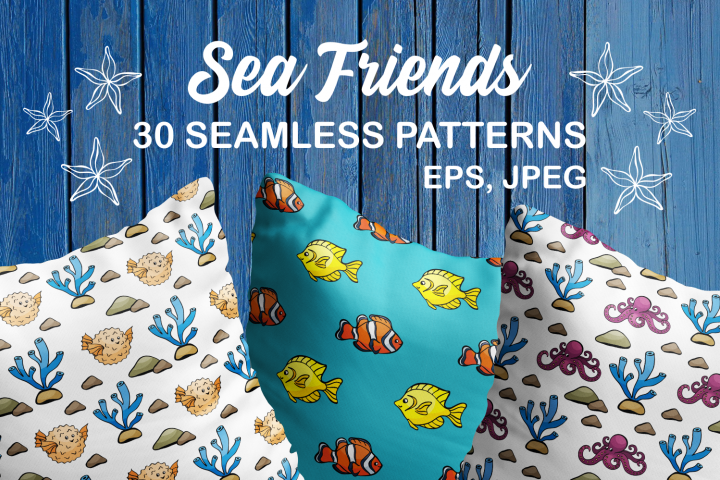 Sea Friends. Vector seamless patterns in doodle style