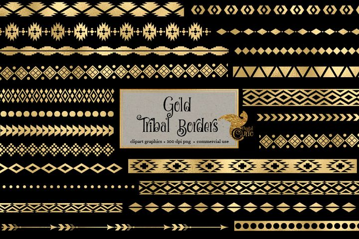 Gold Tribal Borders Clipart