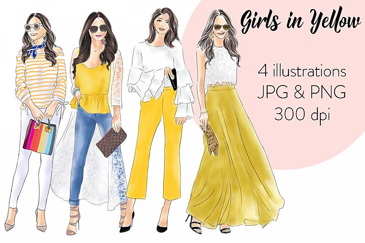 Girls in yellow watercolour fashion illustration clipart