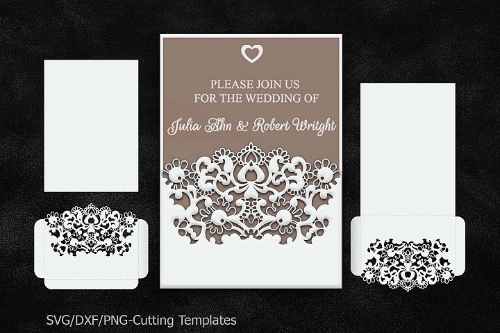 Rustic Wedding Invitation Pocket Envelope 5x7, SVG Template, Quinceanera card, floral doly lace laser cut file, Silhouette Cameo, Cricut dxf