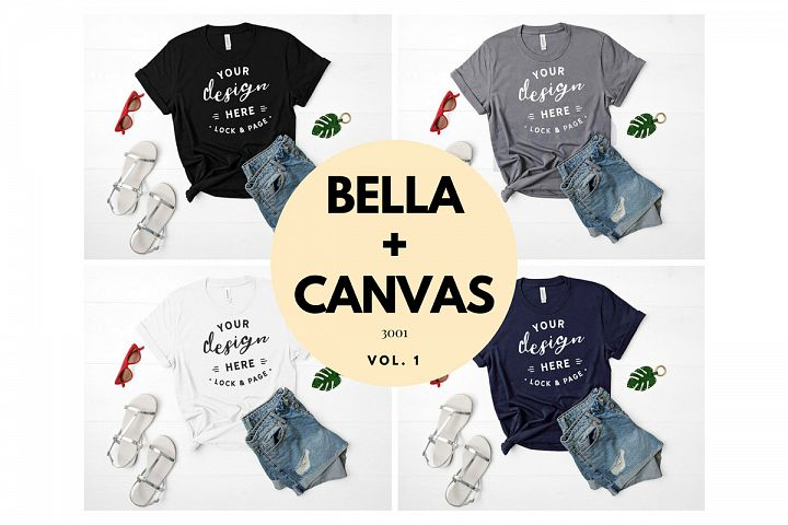 Mockup TShirt Bundle Bella Canvas 3001 T-Shirt Flat Lay Bundle Black Storm White Navy Feminine Ladies Fashion T Shirt Mockups Vol. 1