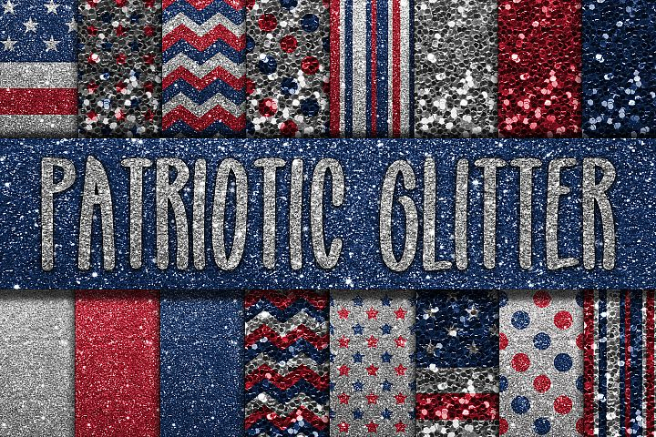 Patriotic Glitter Digital Papers