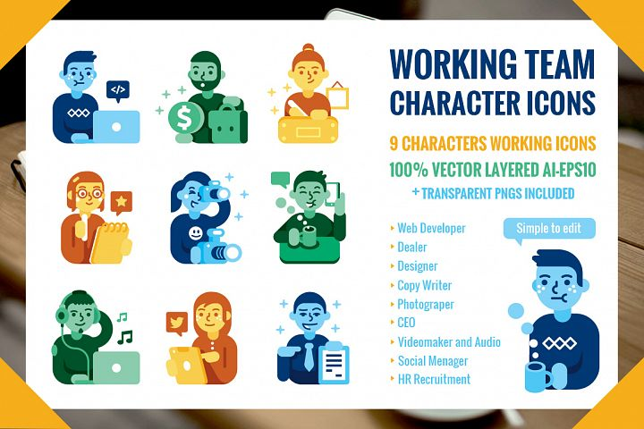Working Team 9 Characters Icons