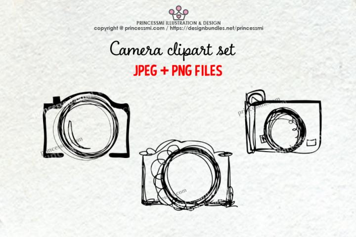 doodle camera clipart set 2