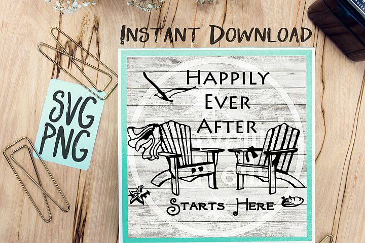 Happily Ever After Starts Here SVG Image Design for Vinyl Cutters Print DIY Design Brother Cricut Cameo Cutout