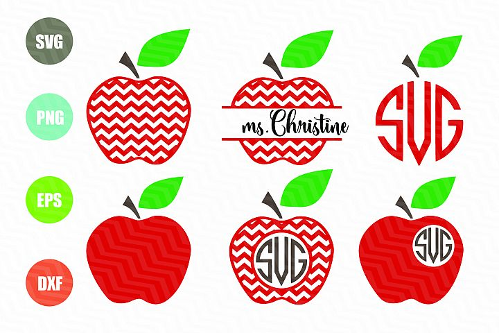 Chevron Apple SVG Apple Monogram SVG Teacher SVG