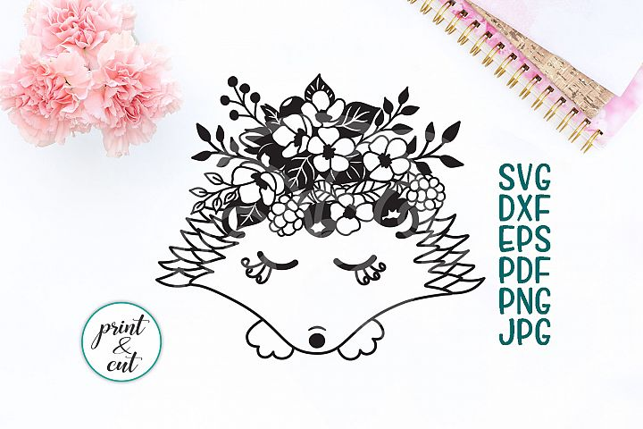 Hedgehog face with bouquet of flowers svg dxf cutting file