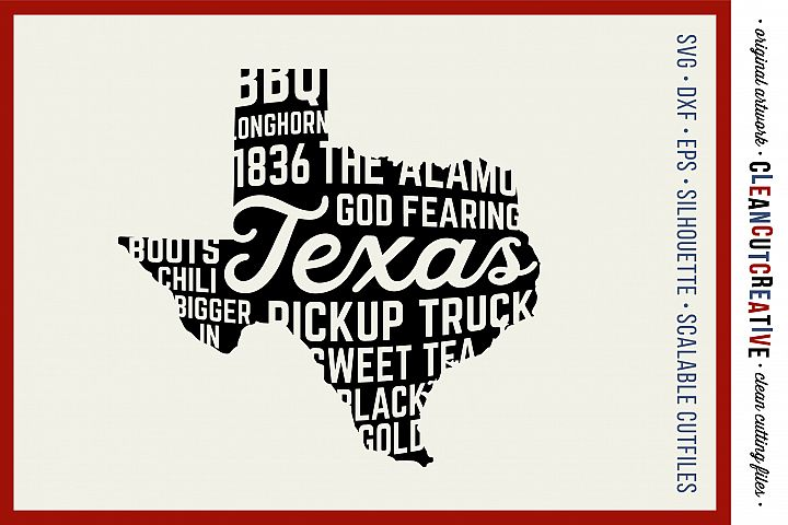Texas State design (God fearing version) - SVG DXF EPS PNG - Cricut & Silhouette - clean cutting files