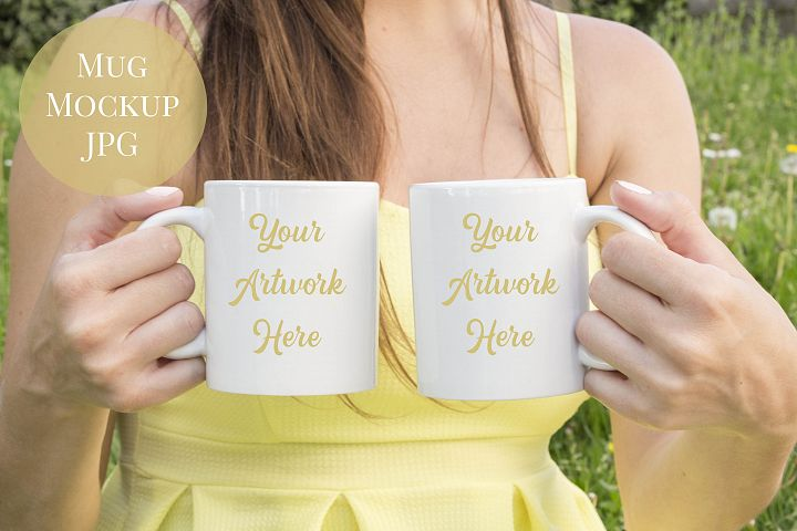 Woman holding double mugs  mockup