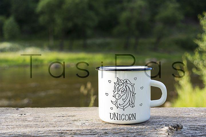 White campfire enamel mug mockup river view