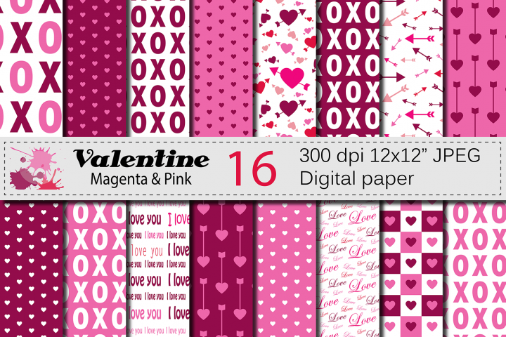Magenta and Pink Valentine Digital paper Pack with hearts and arrows / Valentine backgrounds / Valentine patterns