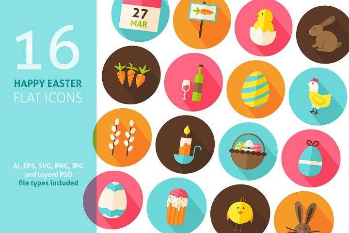 Happy Easter Flat Vector Icons