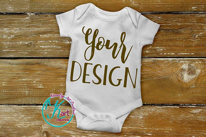 Blank White Baby Onepiece Mockup, White Baby Bodysuit mock up, Baby Mock up - Flat, Top View on Wood Background, onesie mockup, JPG Download