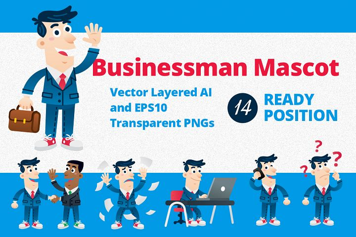 Businessman Mascot - 14 ready position