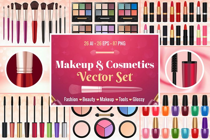 Makeup & Cosmetics Vector Set