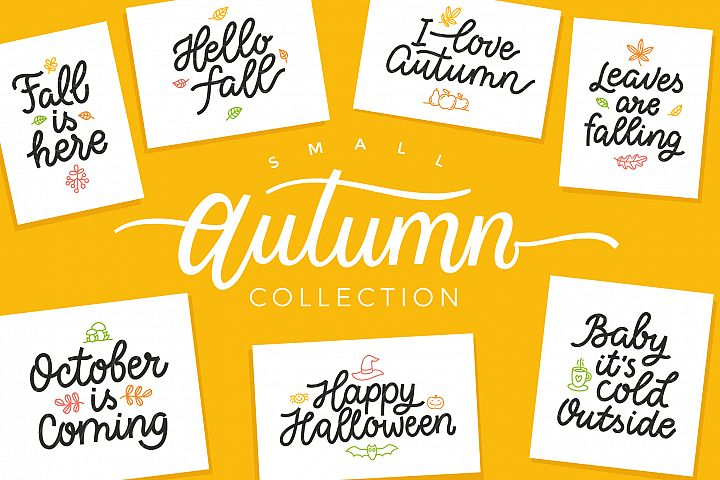 Autumn Collection, vector letterings
