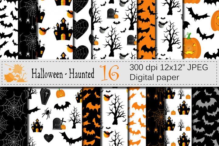 Halloween Digital Paper with Haunted House, Pumpkin, Bats, Spider / Black and Orange Halloween Scrapbook Paper / Halloween backgrounds