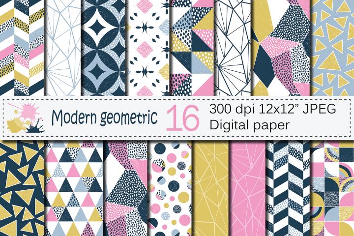 Seamless Modern Geometric Digital Paper / Geometric Patterns / Modern Backgrounds - Pink Blue Gold