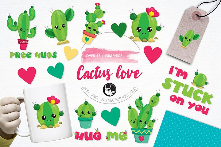 Cactus Love graphics and illustrations