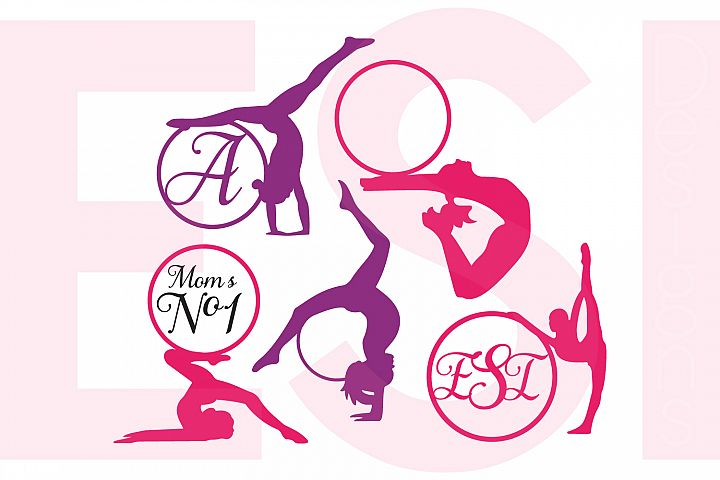 Gymnast Silhouette Monogram Designs Set