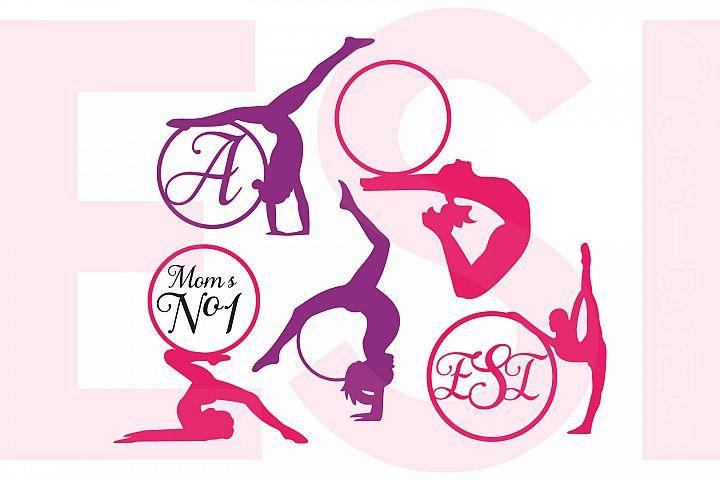 Gymnast Silhouette Monogram Designs Set