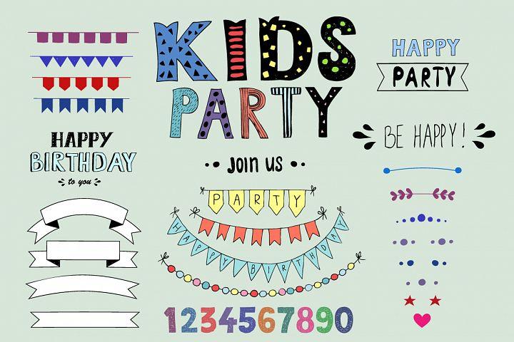 Hand drawn Kids party design elements