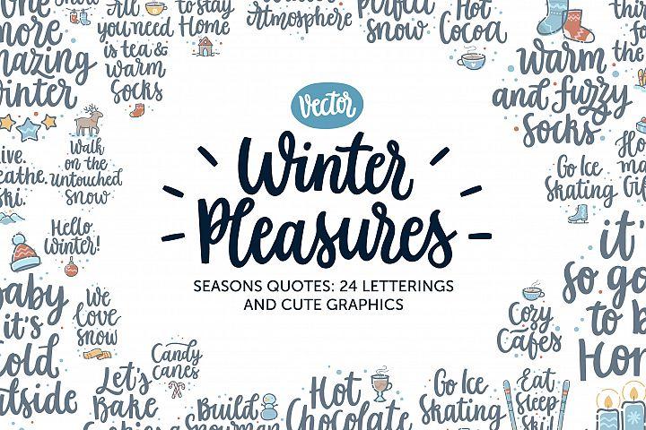 Winter Pleasures vector quote