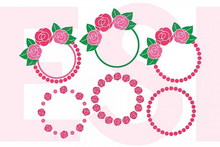 Rose Circle Monogram Frame Designs