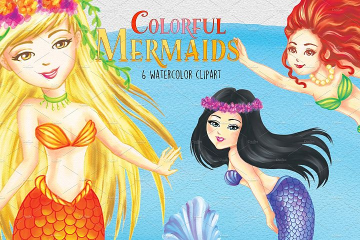 Watercolor Colorful Mermaids Clipart Images