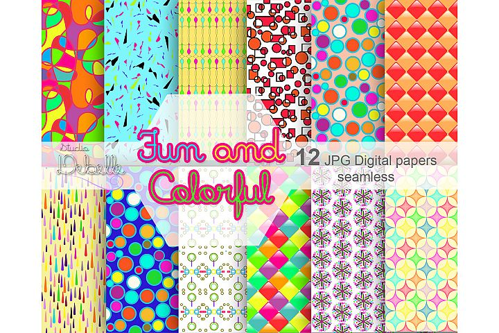 Fun and Colorful digital papers seamless pattern