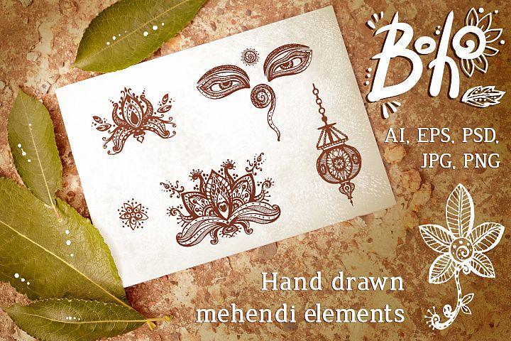 Hand drawn vector boho elements