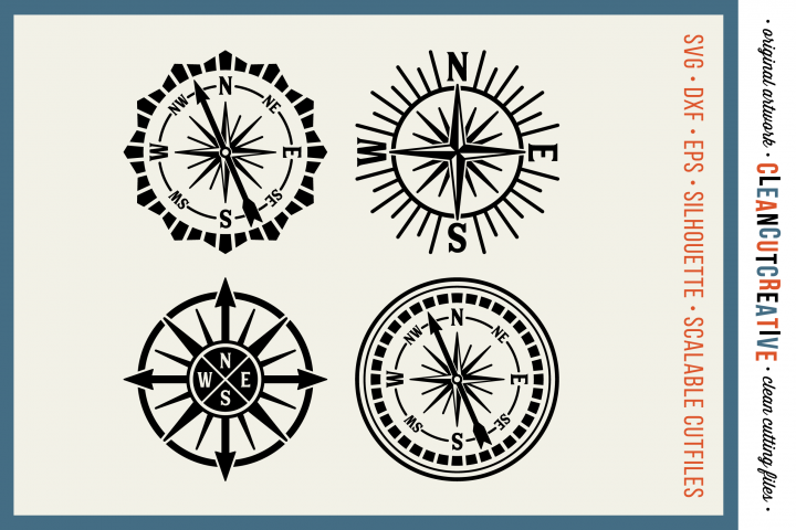 Set of 4 RETRO COMPASSES - SVG DXF EPS PNG - Cricut & Silhouette - clean cutting files