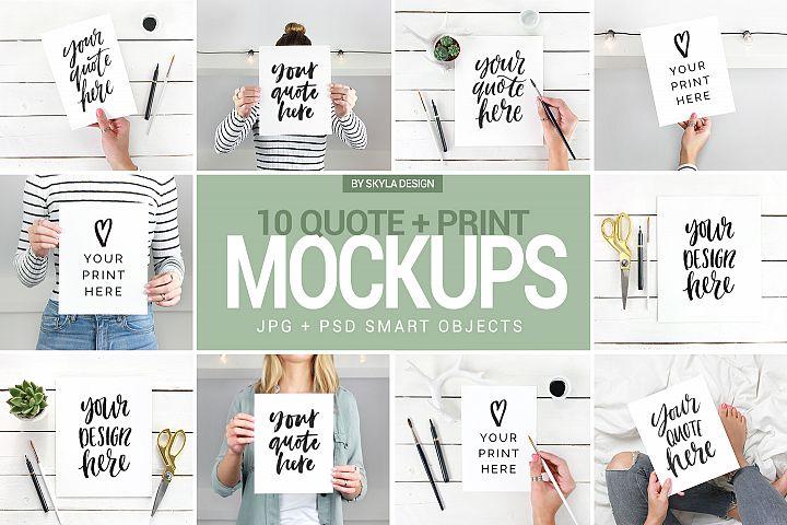 Quote & print mockup bundle, feminine styled stock photo