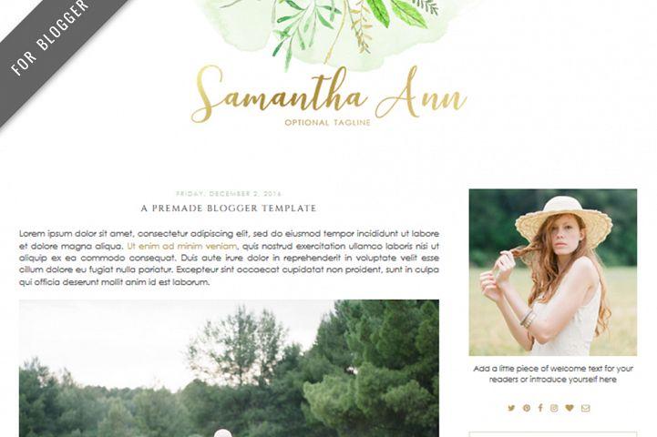 Premade Blogger Template - Mobile Responsive - Watercolor Design Blog - Samantha Ann Theme