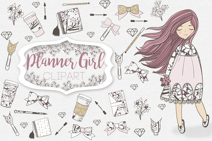 Planner Girl Clipart - Free Design of The Week
