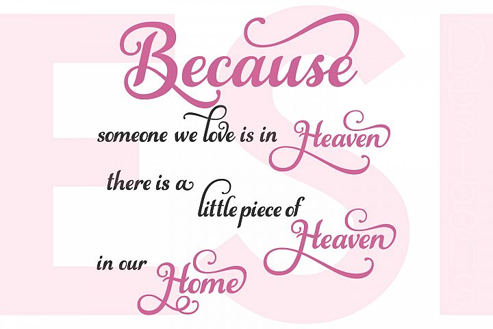 Because someone we love is in heaven there is a little piece of heaven in our home - Quote