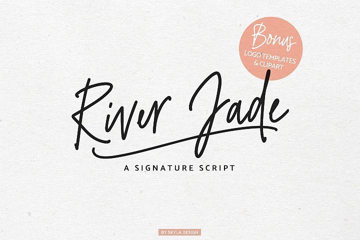 River Jade, signature font script, Logos & bonus clipart